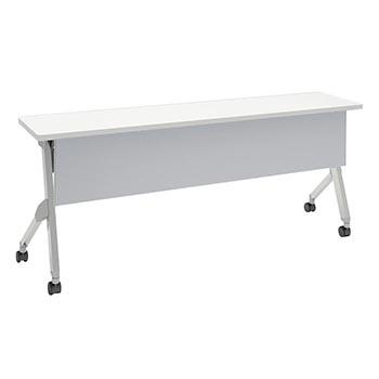 平行スタックテーブル 幅1800×奥行400mm 棚板なし 幕板付 ホワイト