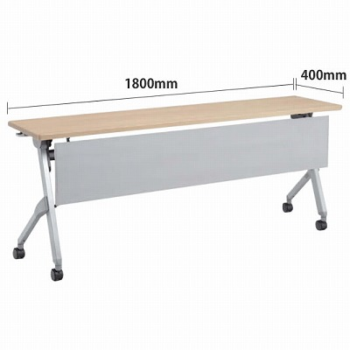 平行スタックテーブル 幅1800×奥行400mm 棚板なし 幕板付 ネオウッドライト