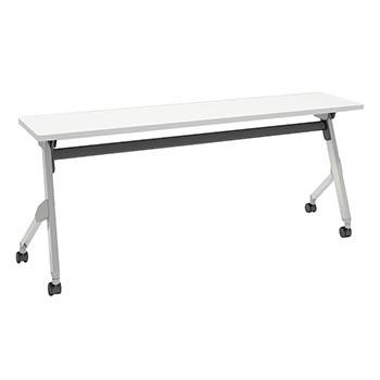平行スタックテーブル 幅1800×奥行400mm 棚板なし 幕板なし ホワイト