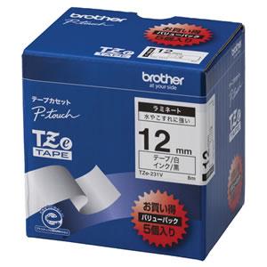BROTHER TZE-231V TZeテープ ラミネートテープ 12mm 白/黒文字 業務用パック