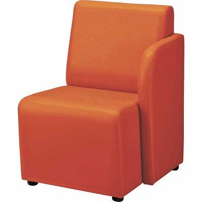ロビーチェアー 65LC 左肘付・1人掛 幅510 奥行630 高さ715 布張り ダークオレンジ
