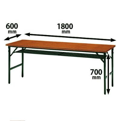 折りたたみテーブル クランク金具方式 幅1800 奥行600 ローズ
