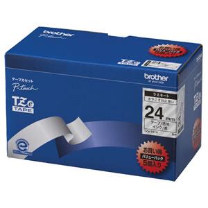 ブラザー TZE-151V ピータッチ TZeテープ ラミネートテープ 24mm 透明/黒文字