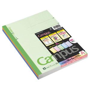 コクヨ ノ-3CANX5 キャンパスノート(カラー表紙) セミB5 A罫 30枚 5色(各色1冊)