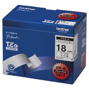 ブラザー ピータッチ TZE-241V TZeテープ ラミネートテープ 18mm 白/黒文字 業務用パック