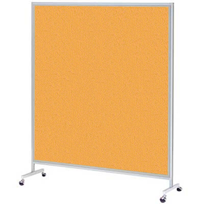 簡易パーテーション 高さ1560mm オレンジ キャスター脚