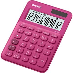 CASIO MW-C20C-RD-N カラフル電卓 ミニジャストタイプ 12桁 ビビッドピンク