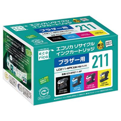エコリカ ECI-BR211-4P  リサイクルインク 4色パック