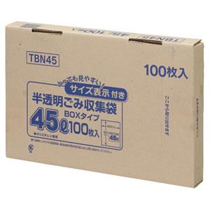 ジャパックス TBN45 容量表示入りポリ袋 乳白半透明 45L BOXタイプ