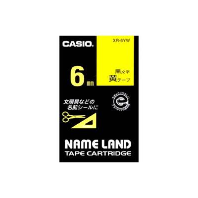 CASIO XR-6YW スタンダードテープ 6mm 黄 黒文字