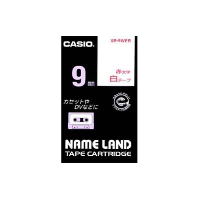 CASIO XR-9WER スタンダードテープ 9mm 白 赤文字
