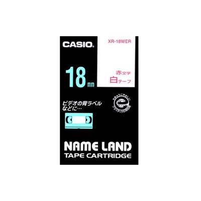 CASIO XR-18WE スタンダードテープ 18mm 白 赤文字