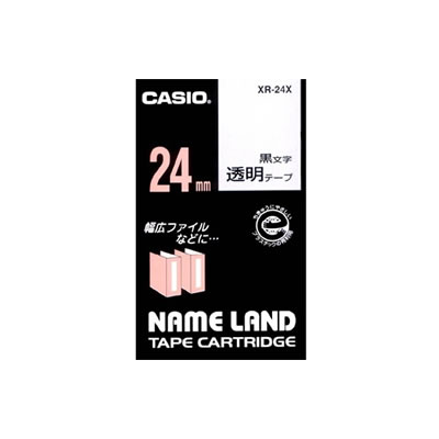 CASIO XR-24X スタンダードテープ 24mm 透明 黒文字