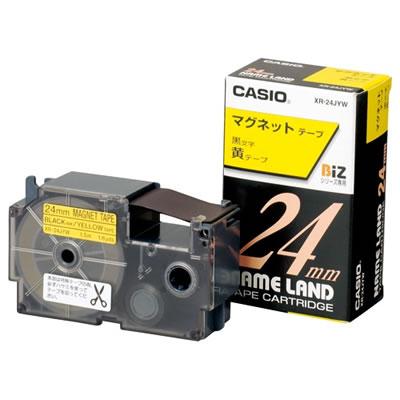 CASIO XR-24JYW マグネットテープ 24mm 黄 黒文字