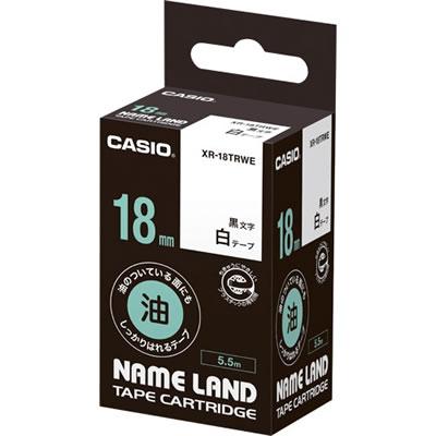 CASIO XR-18TRWE 油のついている面にもしっかりはれるテープ 18mm 白 黒文字