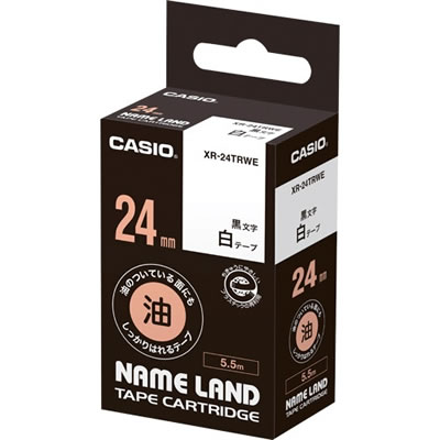 CASIO XR-24TRWE 油のついている面にもしっかりはれるテープ 24mm 白 黒文字