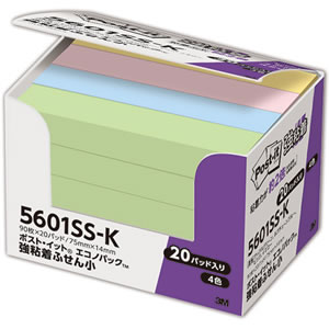 3M 5601SS-K ポスト・イット 強粘着 エコノパック ふせん 小 75×14mm パステルカラー 4色混色