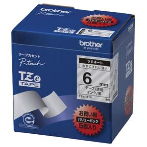 BROTHER TZE-111V ピータッチ TZeテープ ラミネートテープ 6mm 透明/黒文字 業務用パック