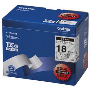 BROTHER TZE-141V ピータッチ TZeテープ ラミネートテープ 18mm 透明/黒文字 業務用パック