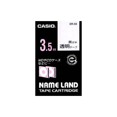 CASIO XR-3X スタンダードテープ 3.5mm 透明 黒文字