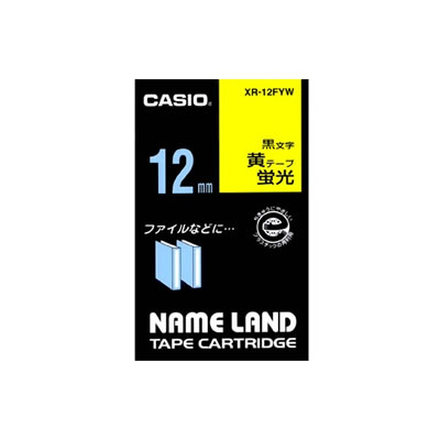 CASIO XR-12FYW 蛍光色テープ 3.5mm 蛍光黄 黒文字
