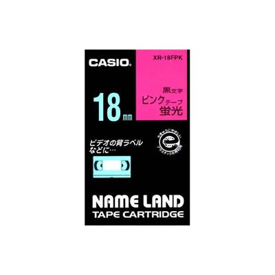 CASIO XR-18FPK 蛍光色テープ 18mm 蛍光ピンク 黒文字