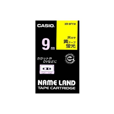 CASIO XR-9FYW 蛍光色テープ 9mm 蛍光黄 黒文字