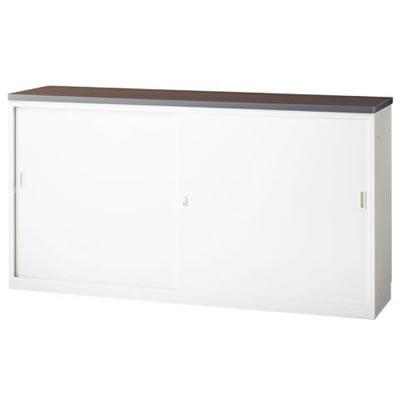 ハイカウンター NS 引戸タイプ 幅1800 本体色:ホワイト 天板色:ウォールナット
