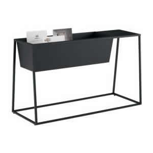ゴド 雑誌架 サイドテーブル付 幅900+450mm天板 ブラック