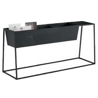 ゴド 雑誌架 サイドテーブル付 幅1200+300mm天板 ブラック