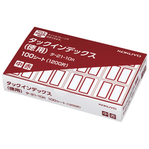 コクヨ タ-21-10R タックインデックス 紙ラベル 徳用 中 23×29mm 赤枠
