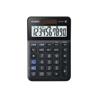 CASIO MW-100TC-BK-N W税計算対応電卓 10桁 ブラック