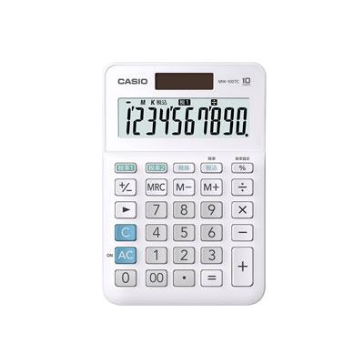 CASIO MW-100TC-WE-N W税計算対応電卓 10桁 ホワイト