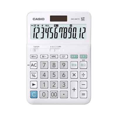 CASIO DW-200TC-N W税計算対応電卓 12桁