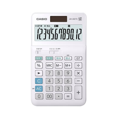 CASIOJW-200TC-N W税計算対応電卓 12桁