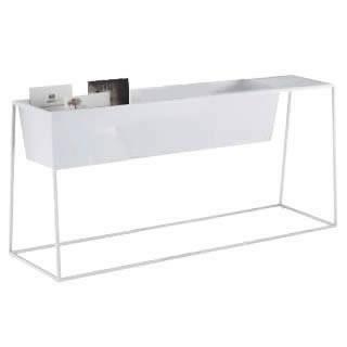 ゴド 雑誌架 サイドテーブル付 ワイド1200+300mm天板 ホワイト