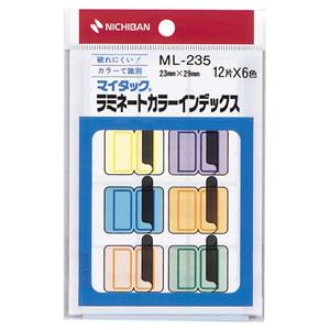 ニチバン ML-235 マイタック ラミネートカラーインデックス 保護フィルム付 中 23×29mm 6色