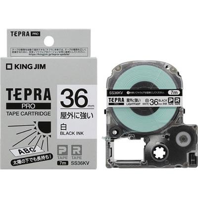 KINGJIM SS36KV テプラPROテープカートリッジ 屋外に強いラベル 36mm 白/黒文字