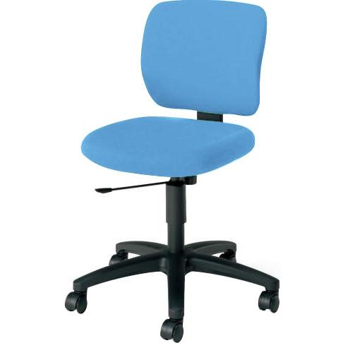 オフィスチェア 「イーザ」 肘無し 背・座同色ソフトブルー