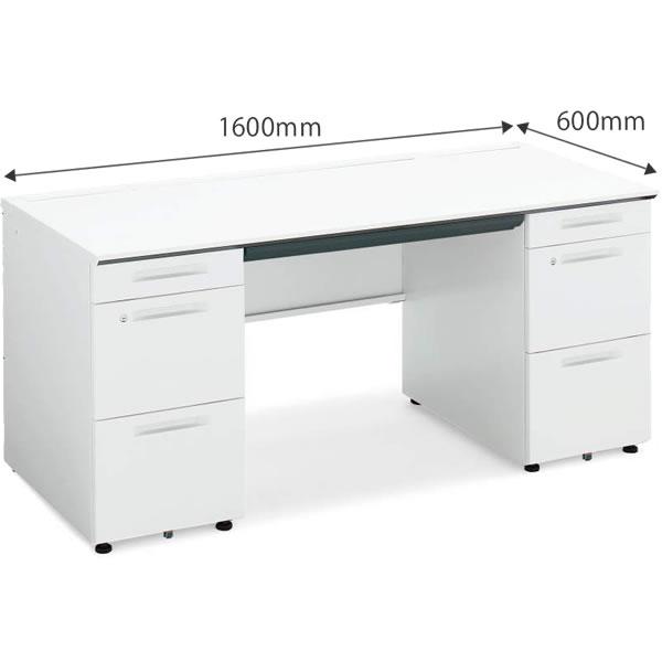 両袖机 幅1600×奥行600mm ホワイト