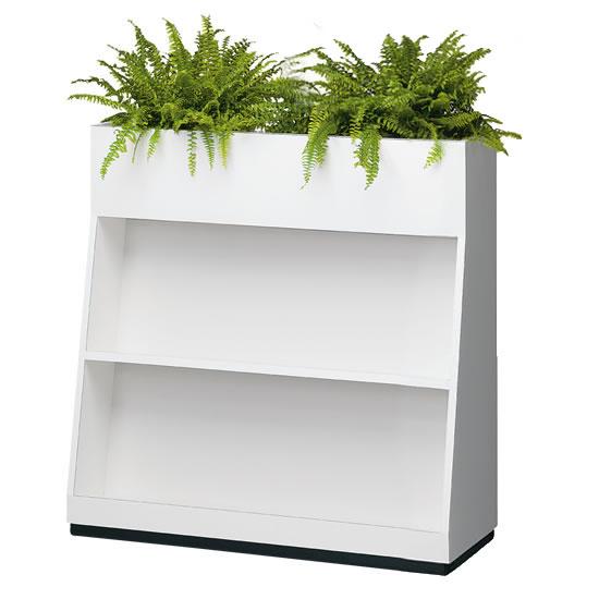 プランター/フラワーボックス 雑誌架兼用タイプ 幅900mm ホワイト