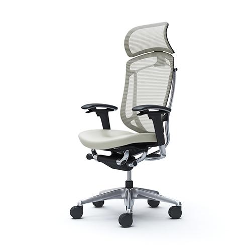 コンテッサセコンダ エクストラハイバック 可動肘 座面革張り ホワイト