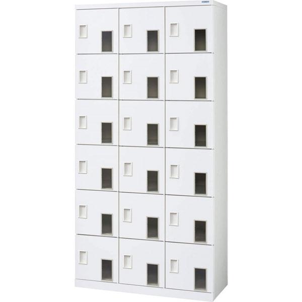 窓付シューズボックス 3列6段18人用 中棚付 鍵なし