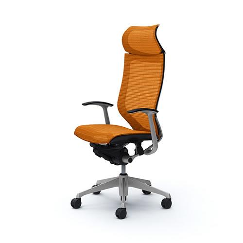 バロンチェア 固定ヘッドレストハイバック 座メッシュ オレンジ 固定肘 ブラックボディ シルバーフレーム