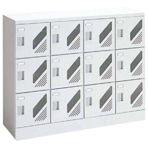 窓付きシューズロッカー 12人用4列3段 シリンダー錠付