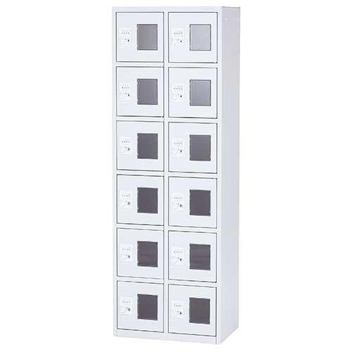 窓付き小物入れBOX 2列6段 ダイヤル錠