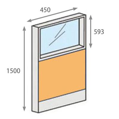 パーテーションLPX 上部ガラスパネル 高さ1500 幅450 イエロー