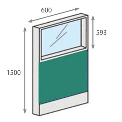 パーテーションLPX 上部ガラスパネル 高さ1500 幅600 グリーン
