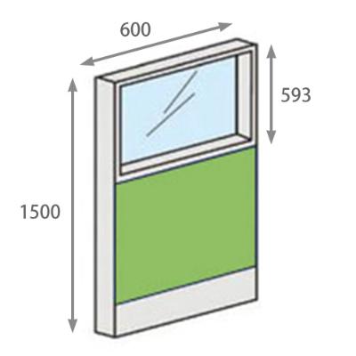 パーテーションLPX 上部ガラスパネル 高さ1500 幅600 ライム