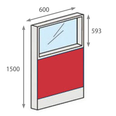 パーテーションLPX 上部ガラスパネル 高さ1500 幅600 レッド